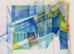 """Edifice, 22"""" by 30"""" Water and Drawing Media on Paper"""