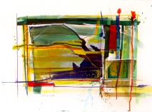 """I was Much too Far Out, 22"""" by 30"""" Water and Drawing Media on Paper"""