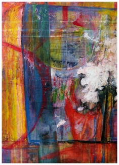 """It Could be Anything, 48"""" by 34"""" Oil and Encaustic Panel"""