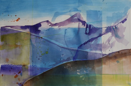 longs-peak-33x15-watercolor-and-drawing-media-on-paper