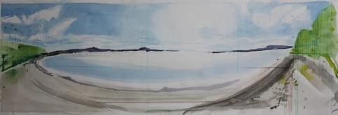 "Morecambre Bay, 10"" by 30"", Water and Drawing Media on Paper"