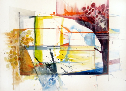 "Organic Impediment, 22"" by 30"" Water Drawing Media on Paper $400"
