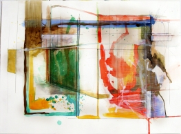 """Reconstructive Conclusion, 22"""" by 30"""" Water and Drawing Media on Paper"""