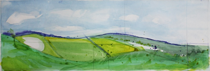 "Ulverston Countryside, 10"" by 30"", Water and Drawing Media on Paper"