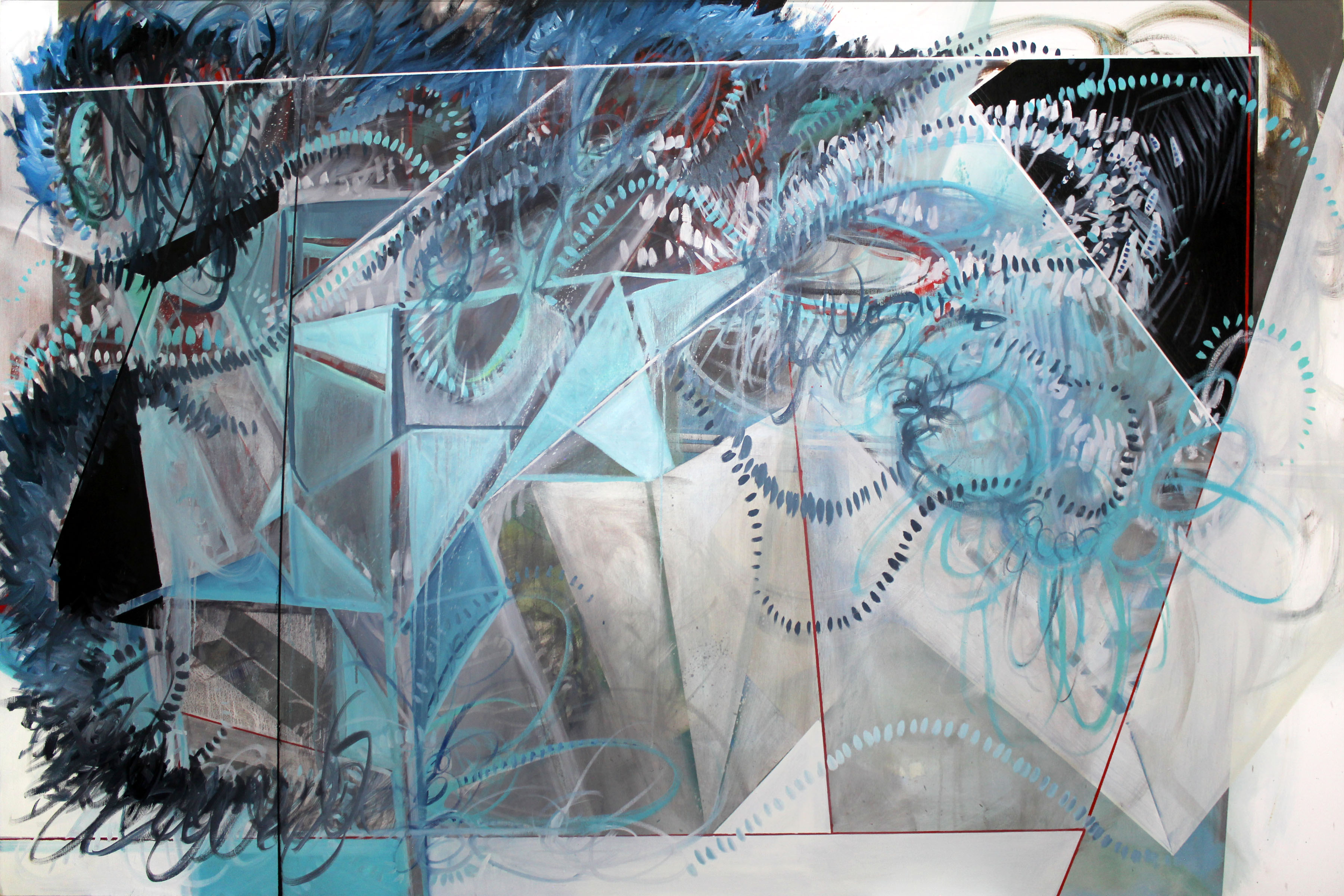 """Phillip Potter """"Loose Cognition of Time #2"""", 72""""x48"""" Oil on Canvas"""