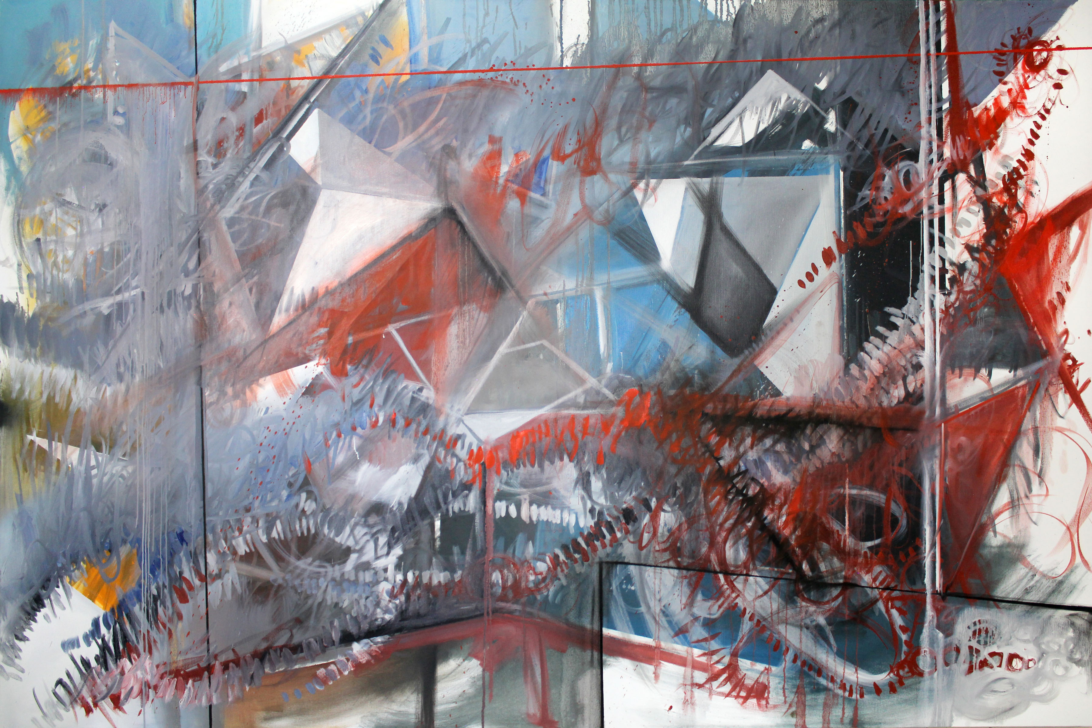 """Phillip Potter """"Loose Cognition of Time #3, 72""""x48"""" Oil on Canvas"""""""